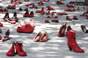 Red women's shoes are on display outside Mexico's consulate in El Paso in the U.S.